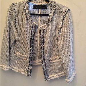 Cotton  blazer with fringe details